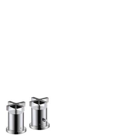 Grifería termostática de 2 agujeros para borde de bañera con manecillas de cruceta