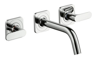 3-hole basin mixer for concealed installation wall-mounted with spout 166 mm, lever handles and escutcheons