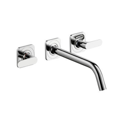 3-hole basin mixer for concealed installation wall-mounted with spout 226 mm, lever handles and escutcheons