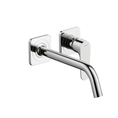 Single lever basin mixer for concealed installation with spout 227 mm and escutcheons wall-mounted