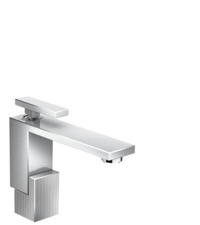 Mezclador monomando de lavabo 130 con vaciador push-open - corte de diamante