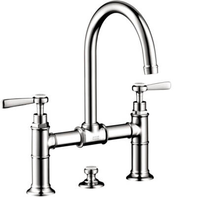 2-handle basin mixer 220 with lever handles and pop-up waste set