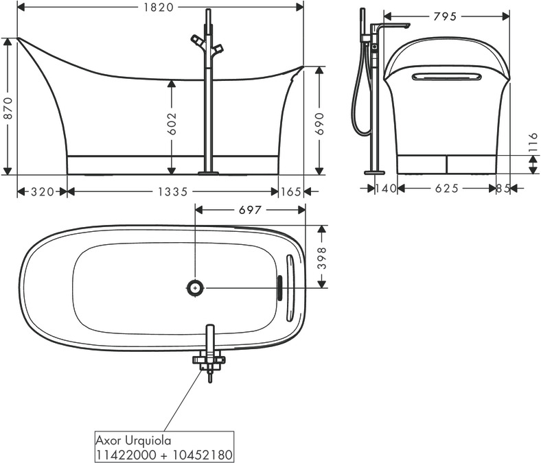 axor bathtubs: axor urquiola, bath tub 1,800/600, 11440000