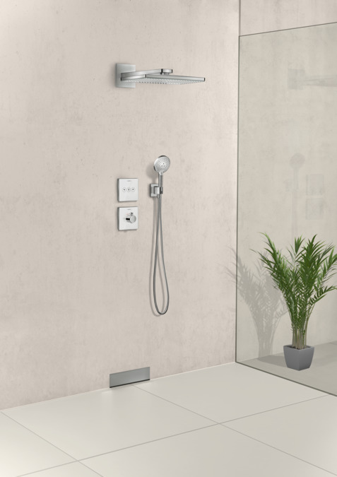 hansgrohe shower support fixfit wall outlet square with shower holder 26486000. Black Bedroom Furniture Sets. Home Design Ideas