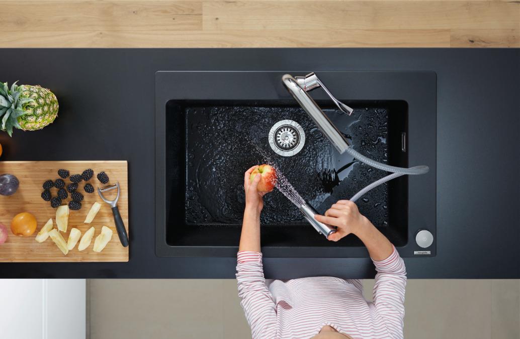 hansgrohe mitigeurs de cuisine m71 m7120 h320 mitigeur cuisine 2 trous avec douchette. Black Bedroom Furniture Sets. Home Design Ideas