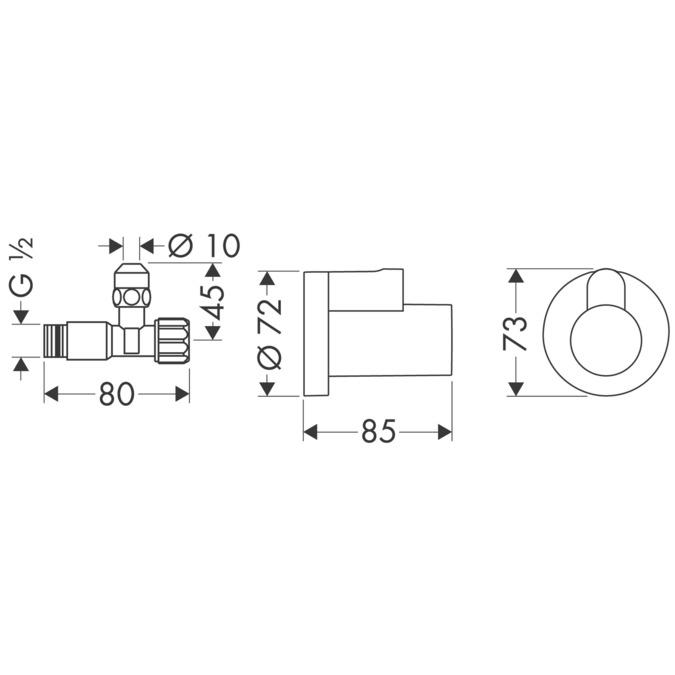hansgrohe Sifones/llave de escuadra: Llave angular con