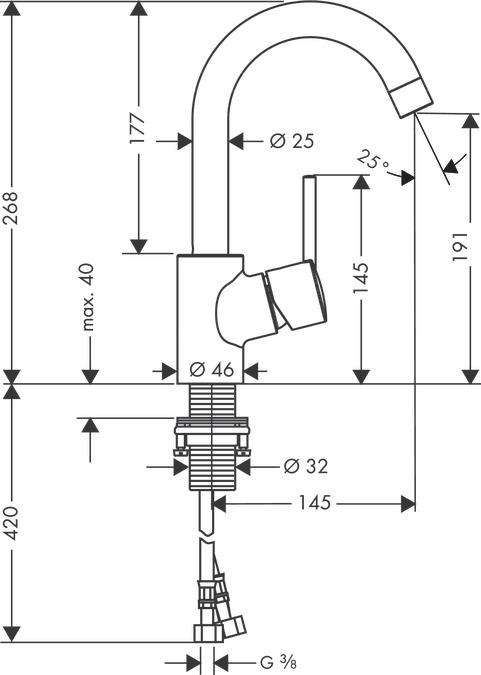 talis s waschtischmischer chrom 32070000. Black Bedroom Furniture Sets. Home Design Ideas