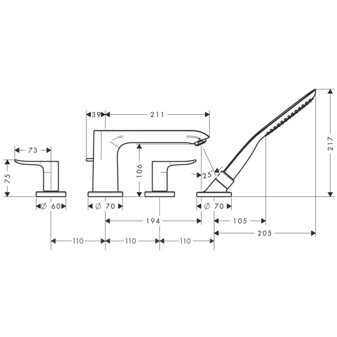 metris wannenarmaturen 2 verbraucher chrom 31442000. Black Bedroom Furniture Sets. Home Design Ideas