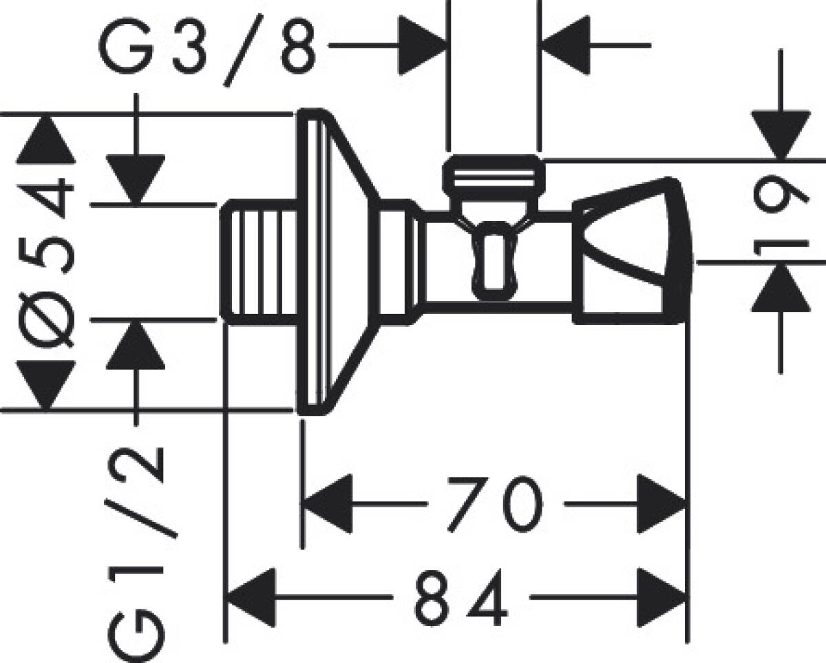 AXOR Siphons/Angle valves: Angle valve E outlet G 3/8