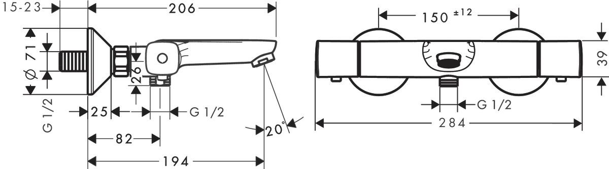 Ecostat Mitigeurs bain douche 2 sorties = 2 fonctions chromé