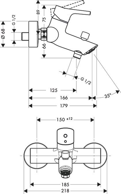 talis s badmengkranen 2 functies chroom 72400000. Black Bedroom Furniture Sets. Home Design Ideas