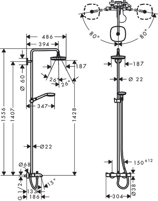 hansgrohe showerpipes croma select e 2 strahlarten 27352400. Black Bedroom Furniture Sets. Home Design Ideas