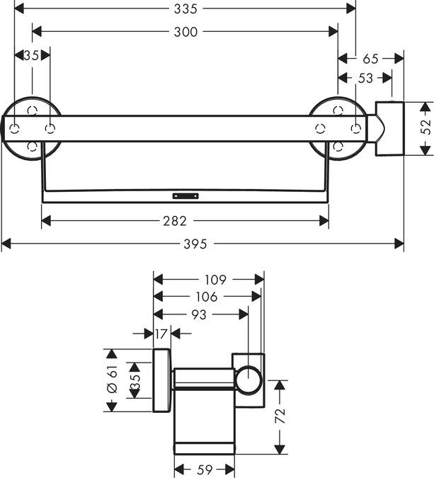 hansgrohe Unica Haltegriff Comfort wei/ß//chrom mit Ablage und Brausehalter