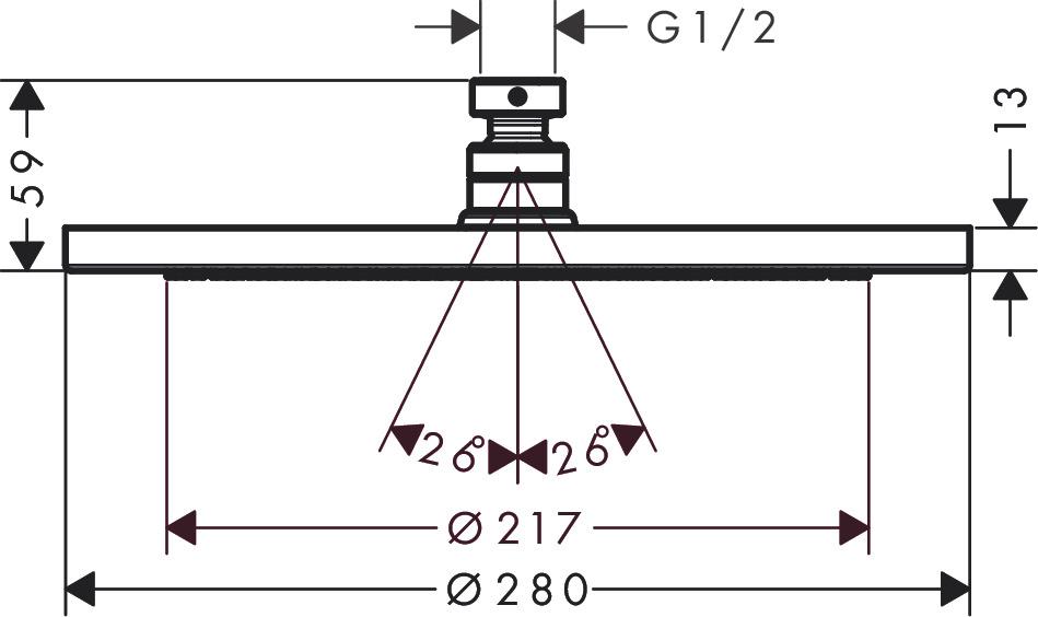 hansgrohe Overhead showers: Croma, 1 spray mode, 26220000