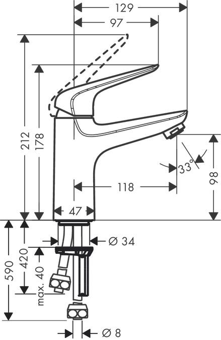 Novus Washbasin mixers: Chrome, 71036000