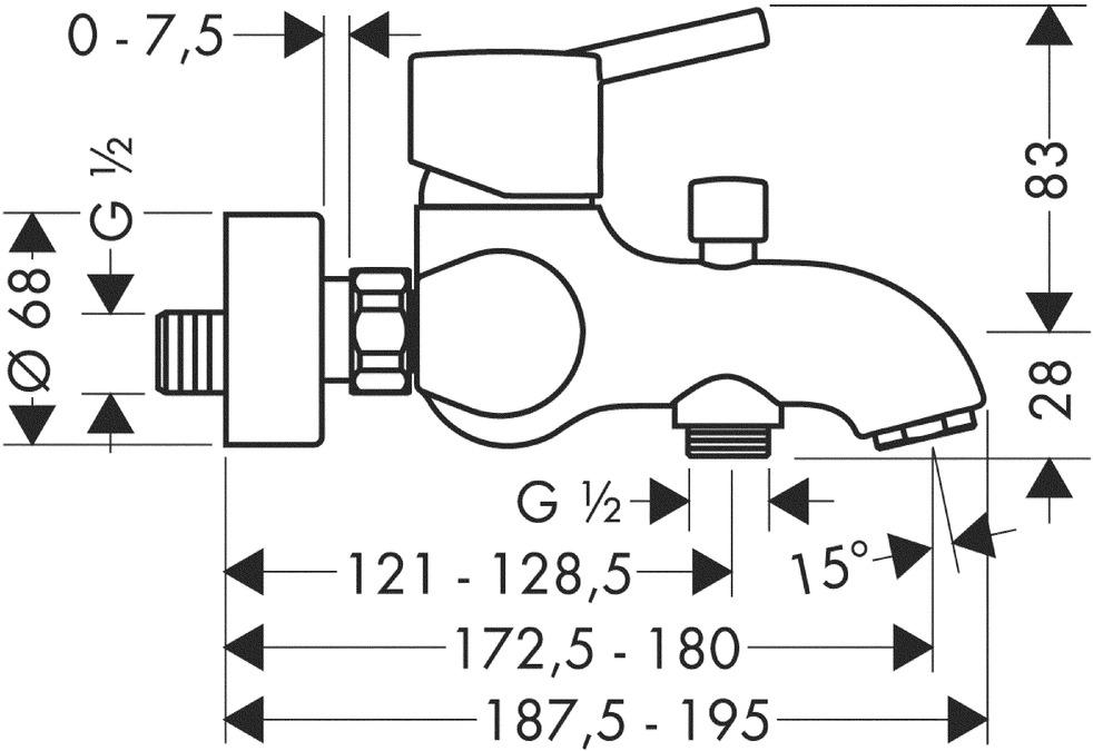 Talis S Bath mixers: 2 outlets, Chrome, 32420000