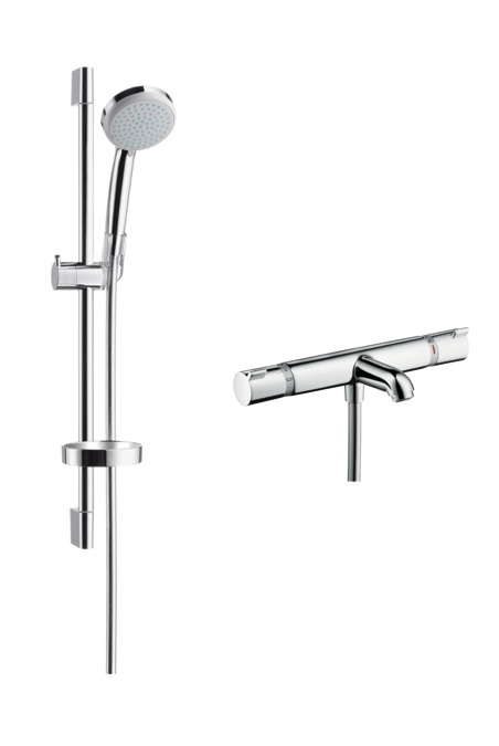 hansgrohe shower sets croma 100 shower system for exposed installation vario ecosmart 9 l min. Black Bedroom Furniture Sets. Home Design Ideas