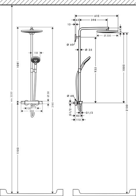 hansgrohe showerpipes raindance select s 2 27133400. Black Bedroom Furniture Sets. Home Design Ideas