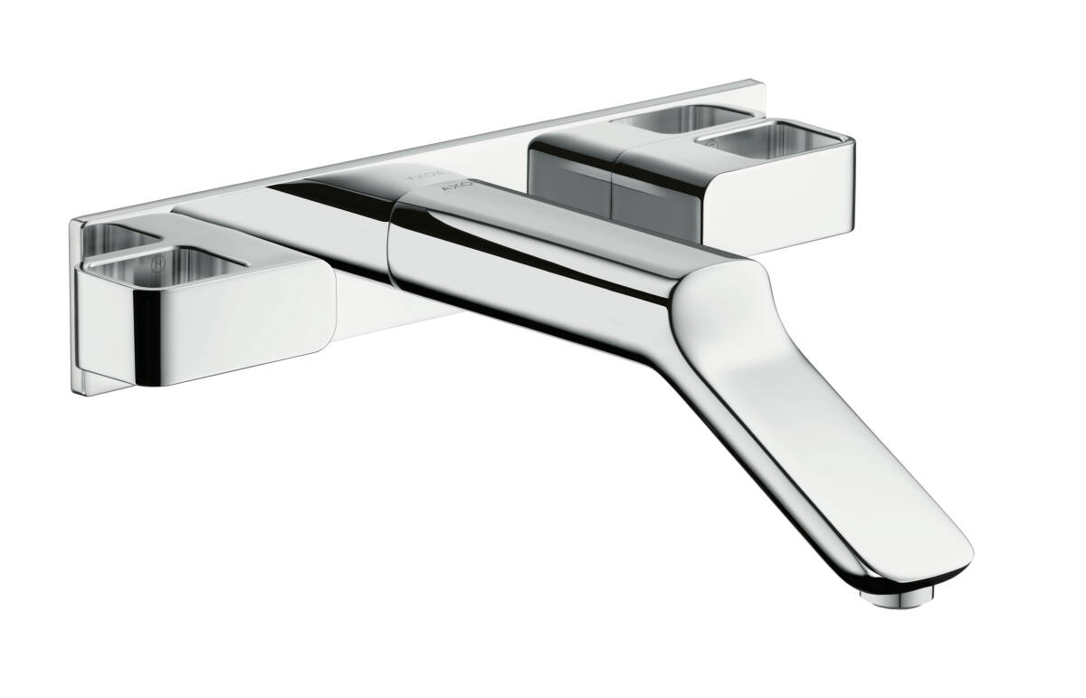 3-hole basin mixer for concealed installation wall-mounted with spout 228 mm, Polished Gold Optic, 11043990