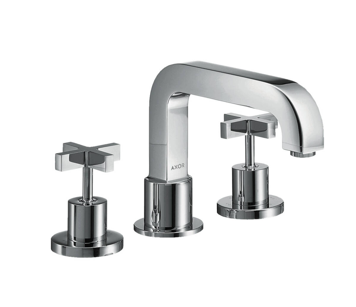 3-hole rim mounted bath mixer with cross handles, Polished Gold Optic, 39436990