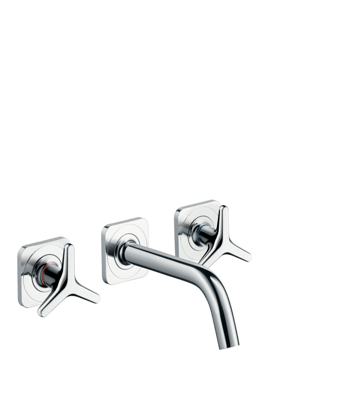 3-hole basin mixer for concealed installation wall-mounted with spout 166 mm, star handles and escutcheons, Chrome, 34215000