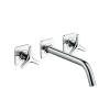 3-hole basin mixer for concealed installation wall-mounted with spout 226 mm, star handles and escutcheons