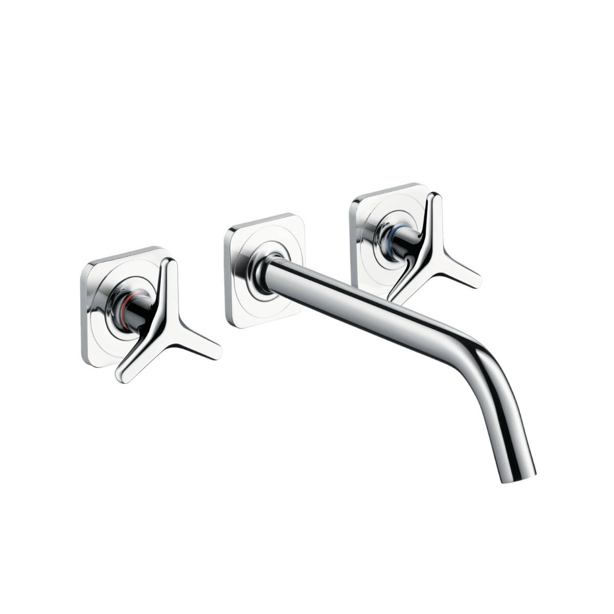 3-hole basin mixer for concealed installation wall-mounted with spout 226 mm, star handles and escutcheons, Chrome, 34217000