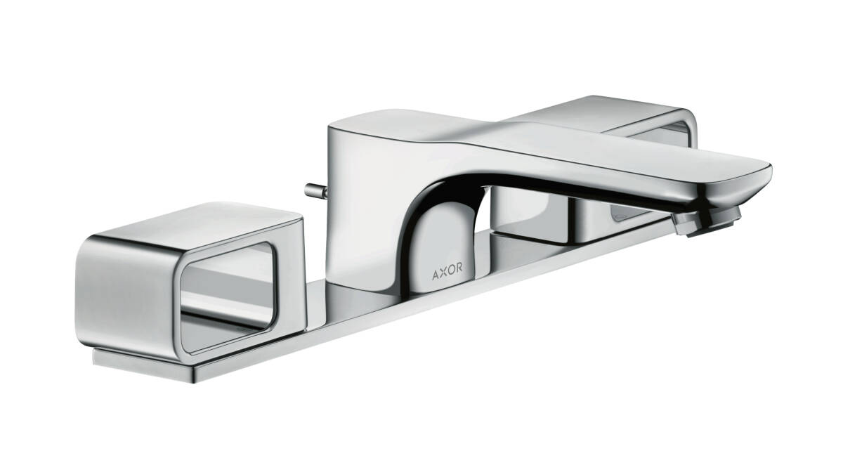 3-hole basin mixer 50 with plate and pop-up waste set, Chrome, 11040000