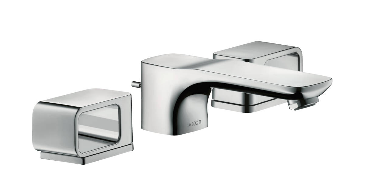 3-hole basin mixer 50 with escutcheons and pop-up waste set, Polished Chrome, 11041020