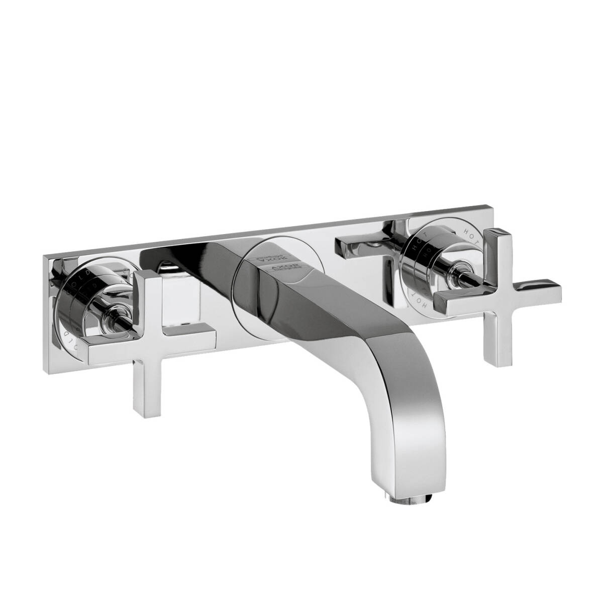 3-hole basin mixer for concealed installation wall-mounted with spout 226 mm, cross handles and plate, Chrome, 39144000