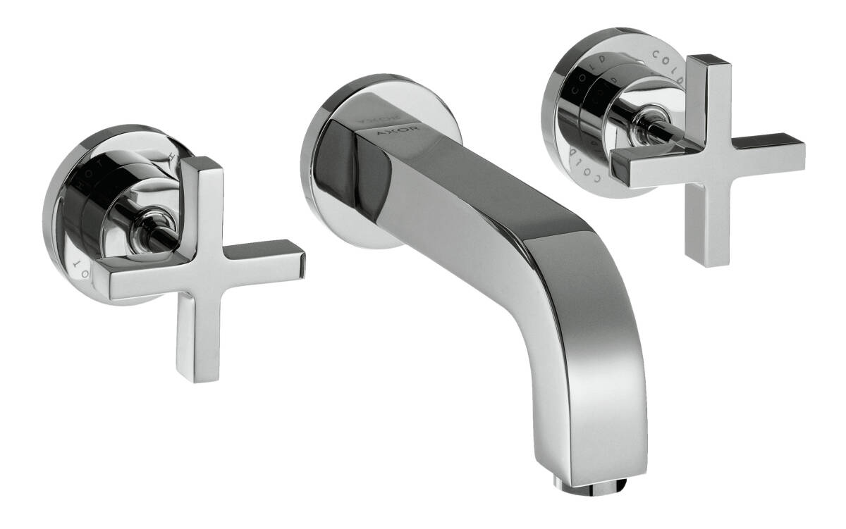 3-hole basin mixer for concealed installation wall-mounted with spout 222 mm, cross handles and escutcheons, Chrome, 39143000