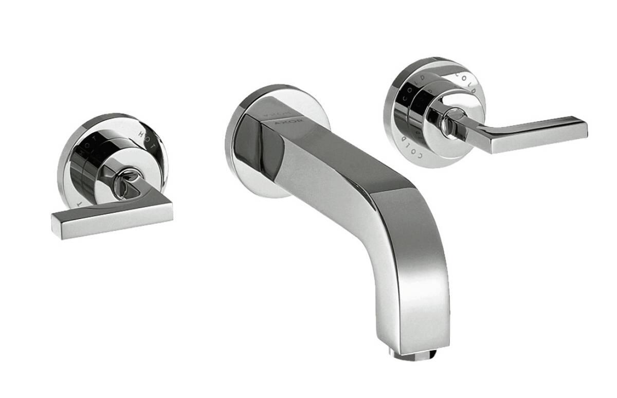 3-hole basin mixer for concealed installation wall-mounted with spout 222 mm, lever handles and escutcheons, Chrome, 39147000