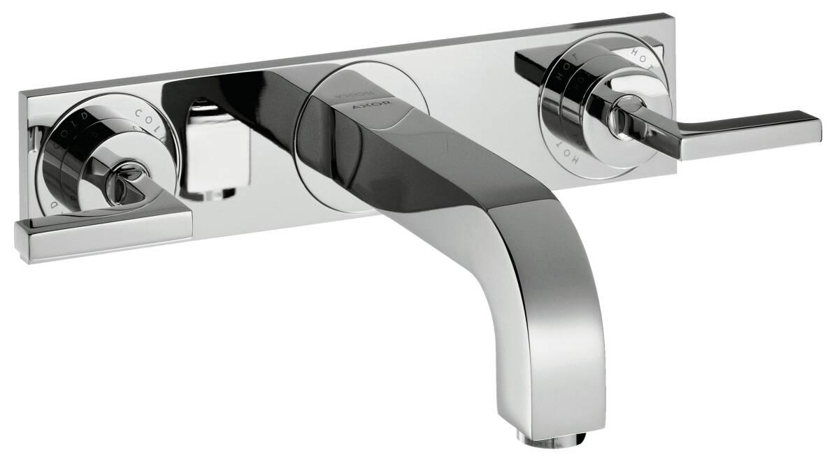 Grifería de lavabo empotrada de 3 agujeros con caño 226 mm, manecillas y placa, color oro cepillado, 39148250