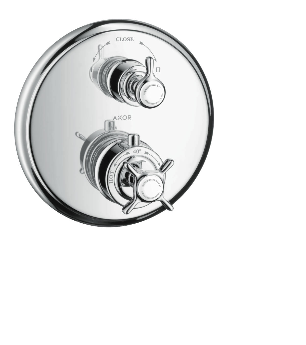 Thermostat for concealed installation with cross handle and shut-off/ diverter valve, Chrome, 16820000