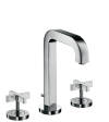 3-hole basin mixer 170 with spout 140 mm, cross handles, escutcheons and pop-up waste set