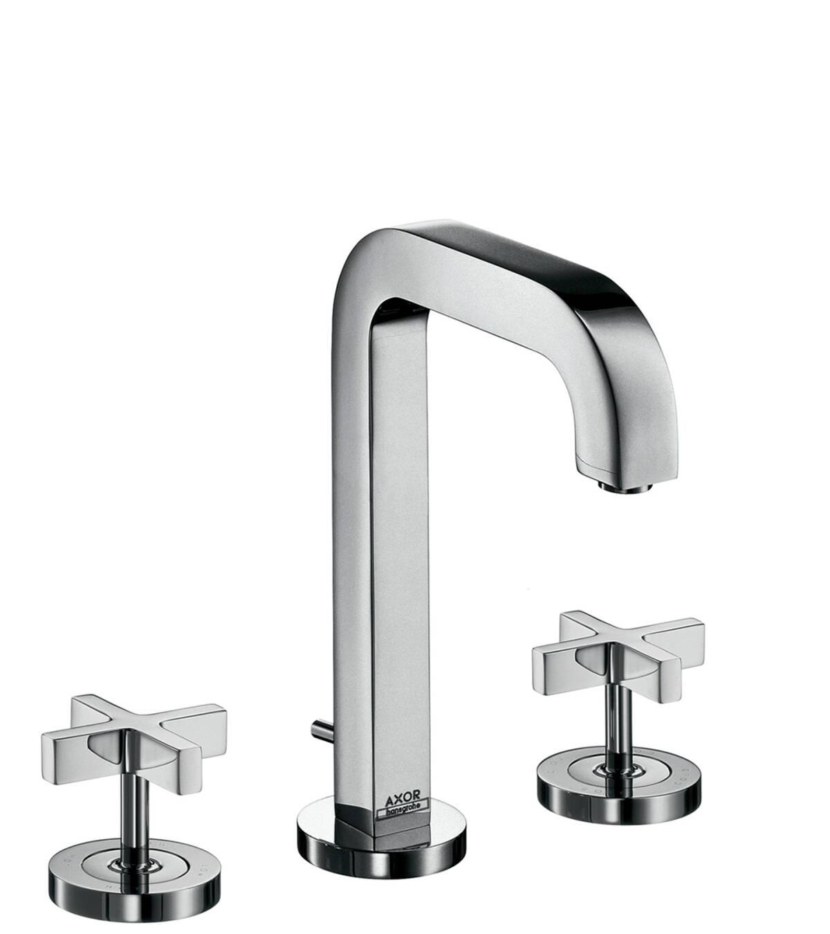 3-Loch Waschtischarmatur 170  mit Zugstangen-Ablaufgarnitur und Auslauf 140 mm, Kreuzgriffe und Rosetten, Chrom, 39133000