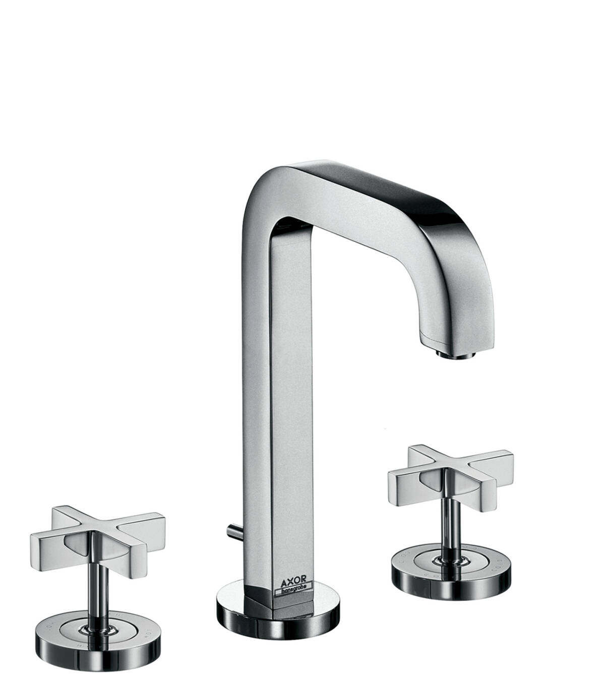 3-hole basin mixer 170 with spout 140 mm, cross handles, escutcheons and pop-up waste set, Chrome, 39133000
