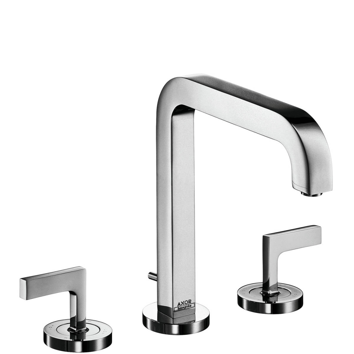 3-hole basin mixer 170 with spout 205 mm, lever handles, escutcheons and pop-up waste set, Chrome, 39155000