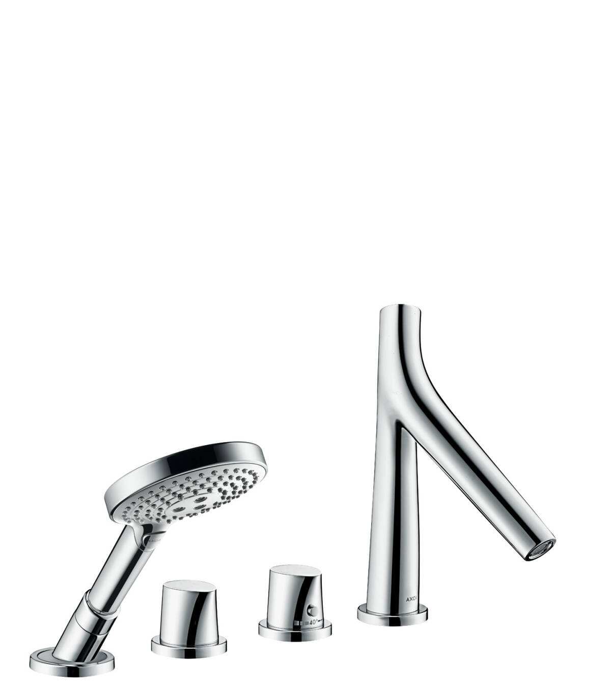 4-hole tile mounted thermostatic bath mixer, Polished Nickel, 12426830