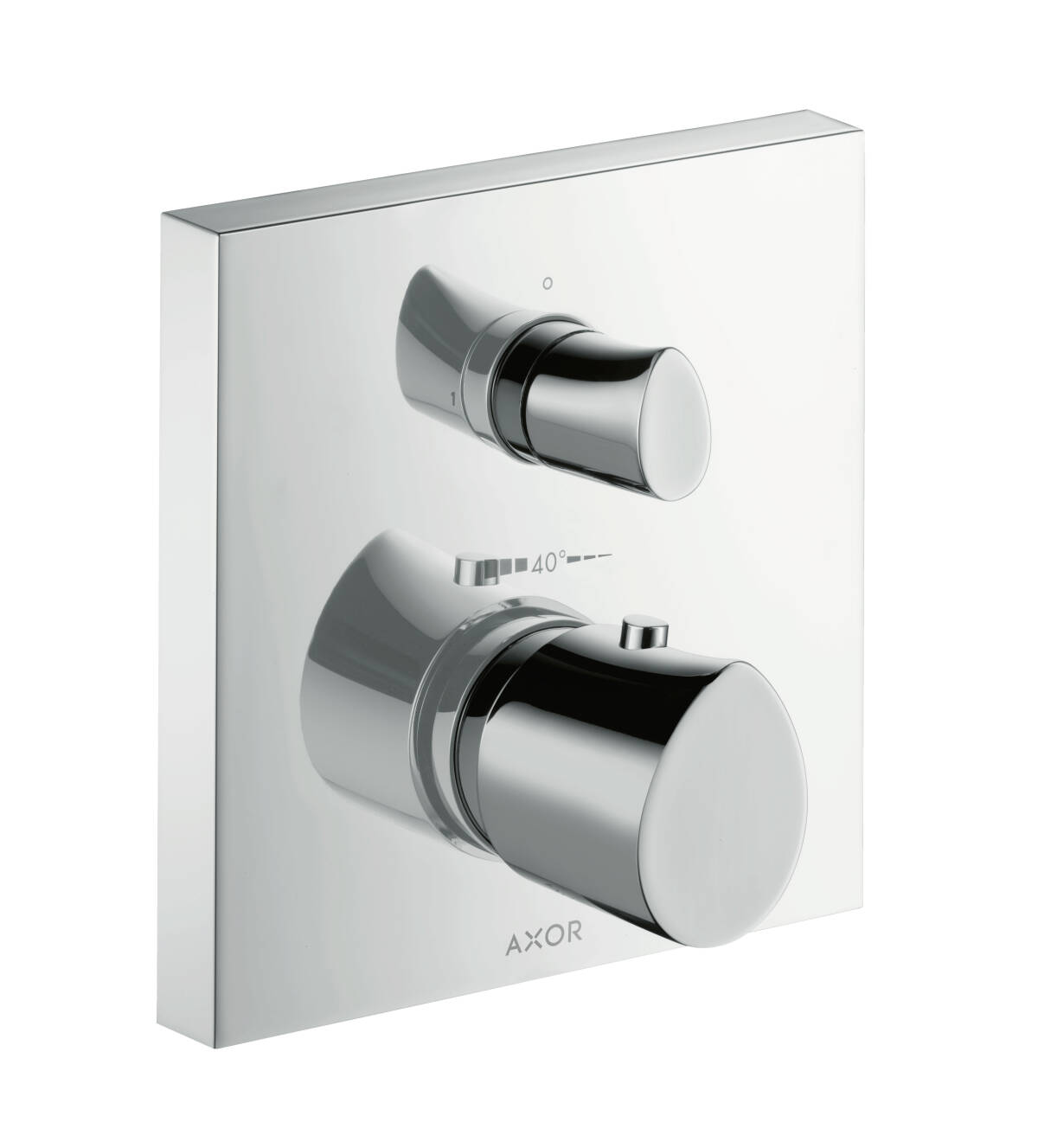 Thermostat for concealed installation with shut-off valve, Polished Red Gold, 12715300