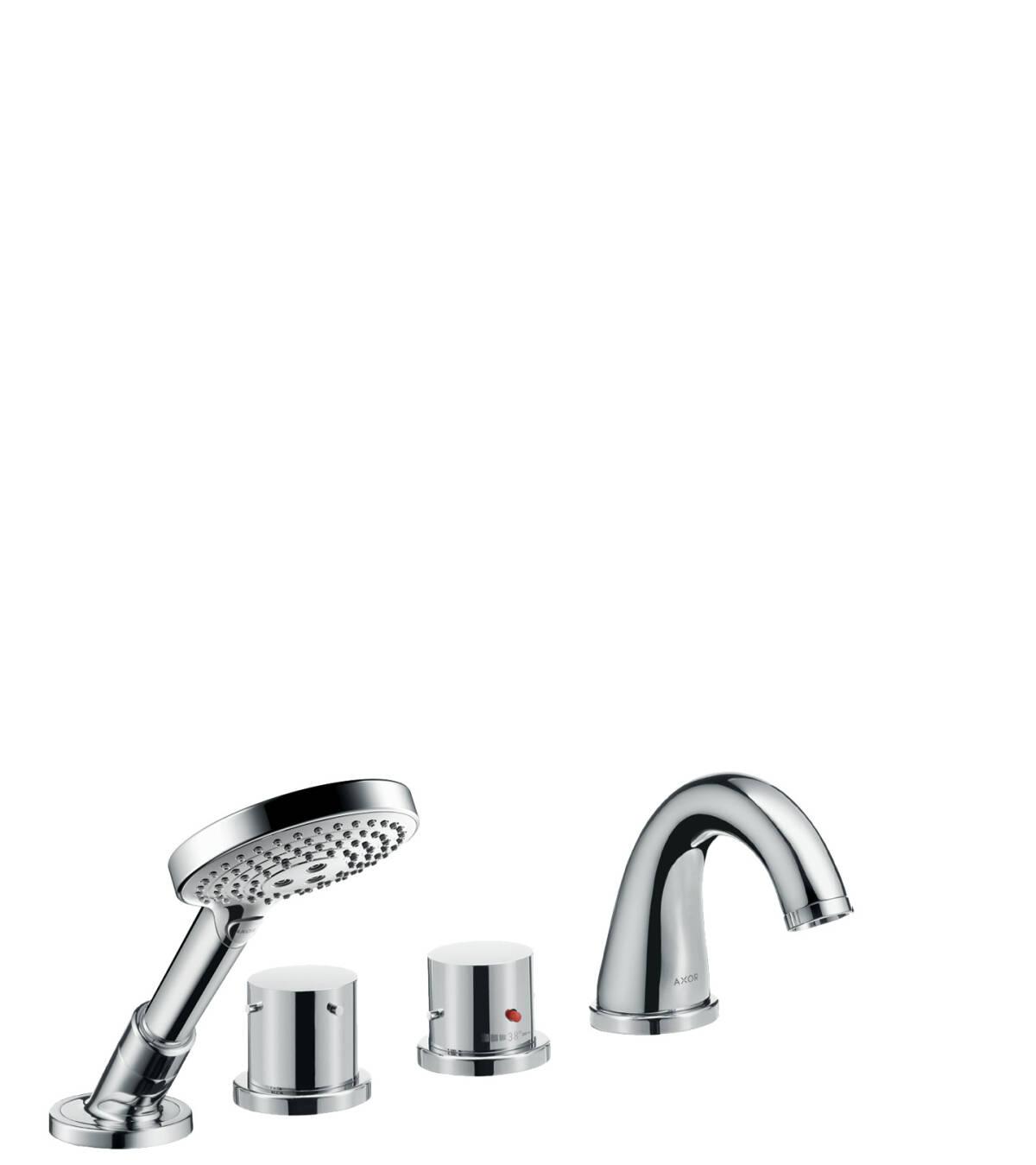 Grifería termostática de 4 agujeros para montaje sobre borde de bañera, bronce cepillado, 10461140