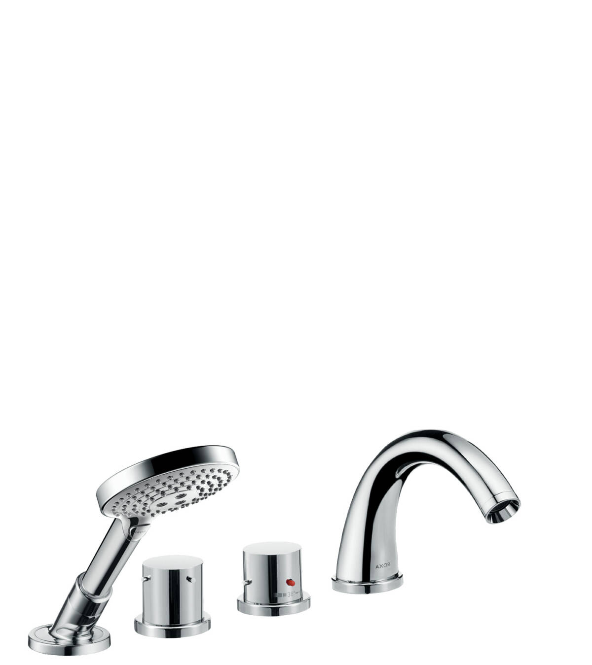 4-hole tile mounted thermostatic bath mixer with zero handles, Brushed Black Chrome, 10466340