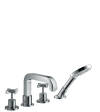 4-hole rim mounted bath mixer with cross handles and escutcheons