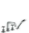 4-hole rim mounted bath mixer with cross handles and escutcheons