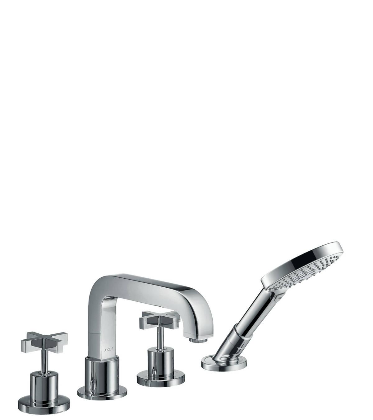 4-hole rim mounted bath mixer with cross handles and escutcheons, Chrome, 39445000