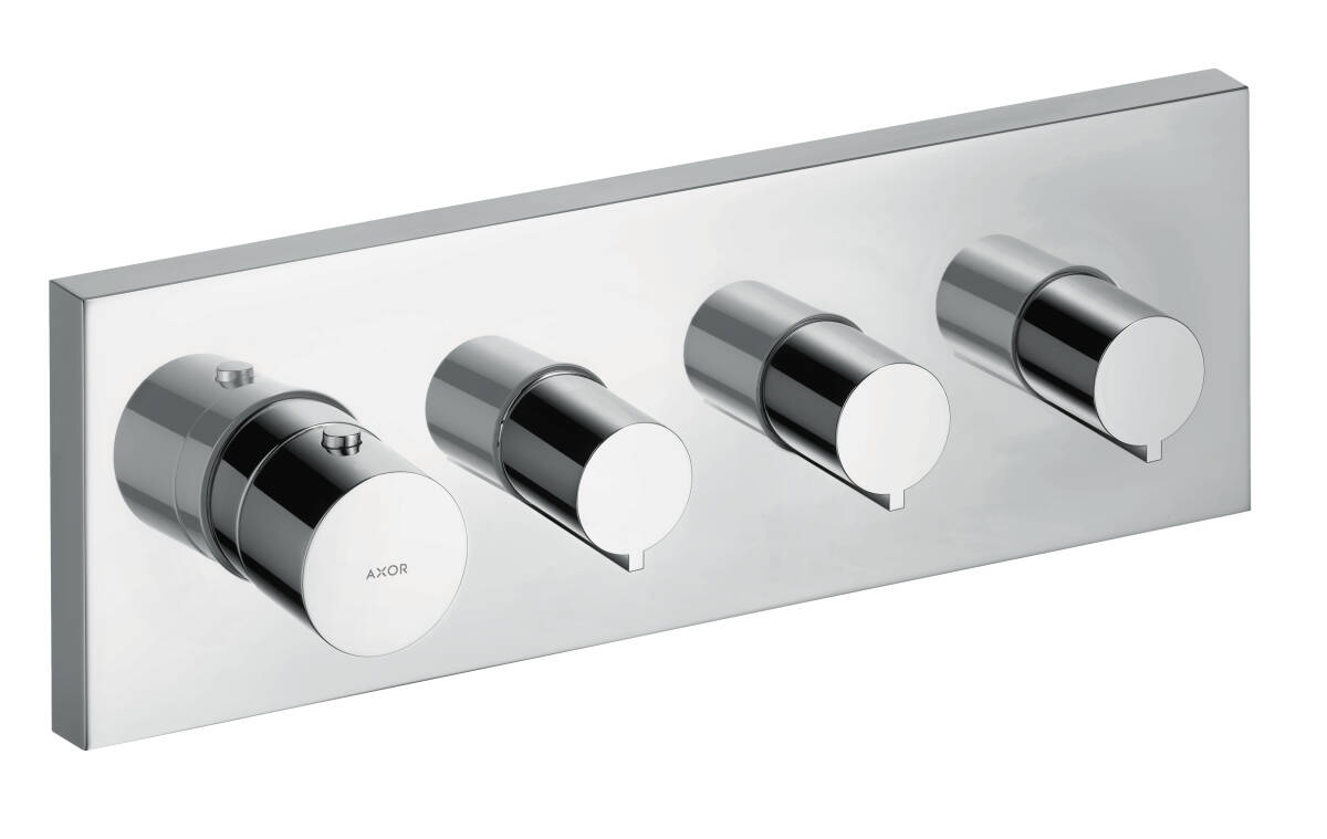 Thermostatic module 360/120 for concealed installation square for 3 functions, Chrome, 10751000