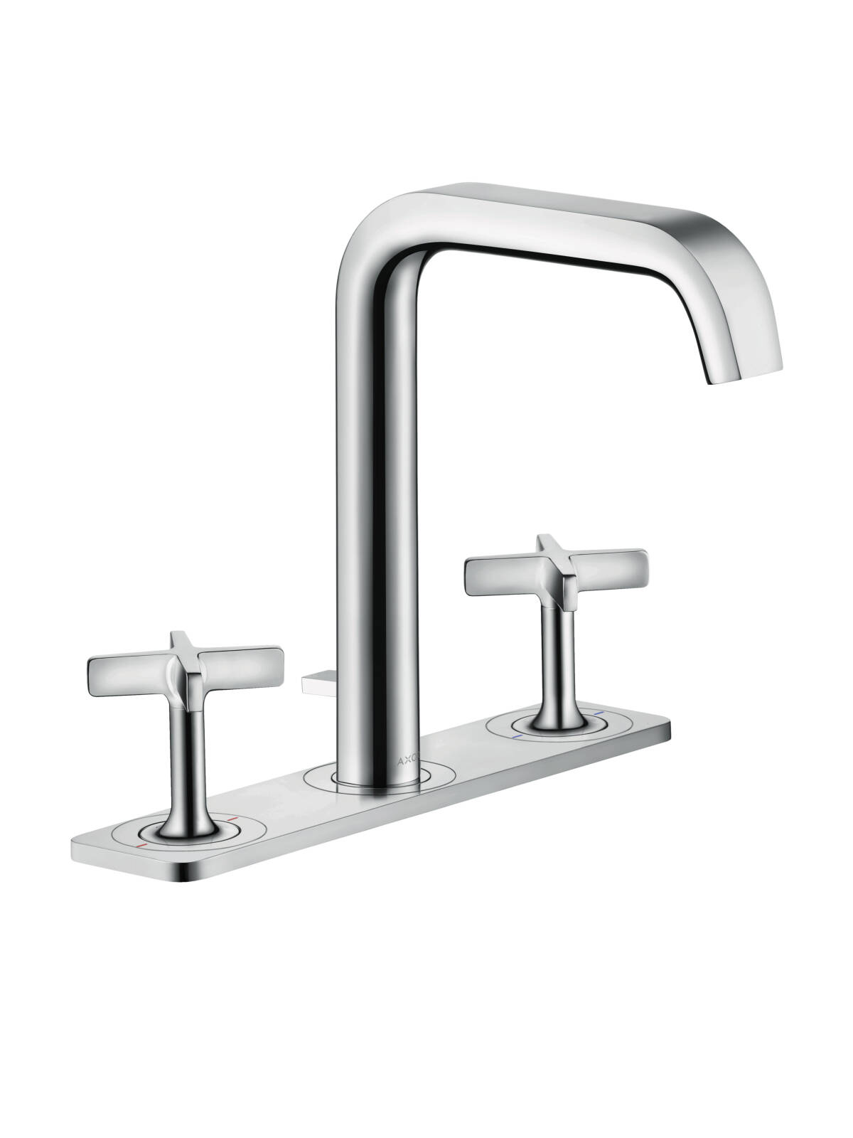 3-hole basin mixer 170 with pop-up waste set and plate, Brushed Chrome, 36116260