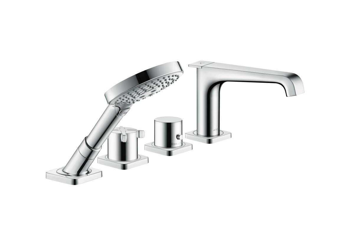 4-hole tile mounted thermostatic bath mixer, Stainless Steel Optic, 36410800