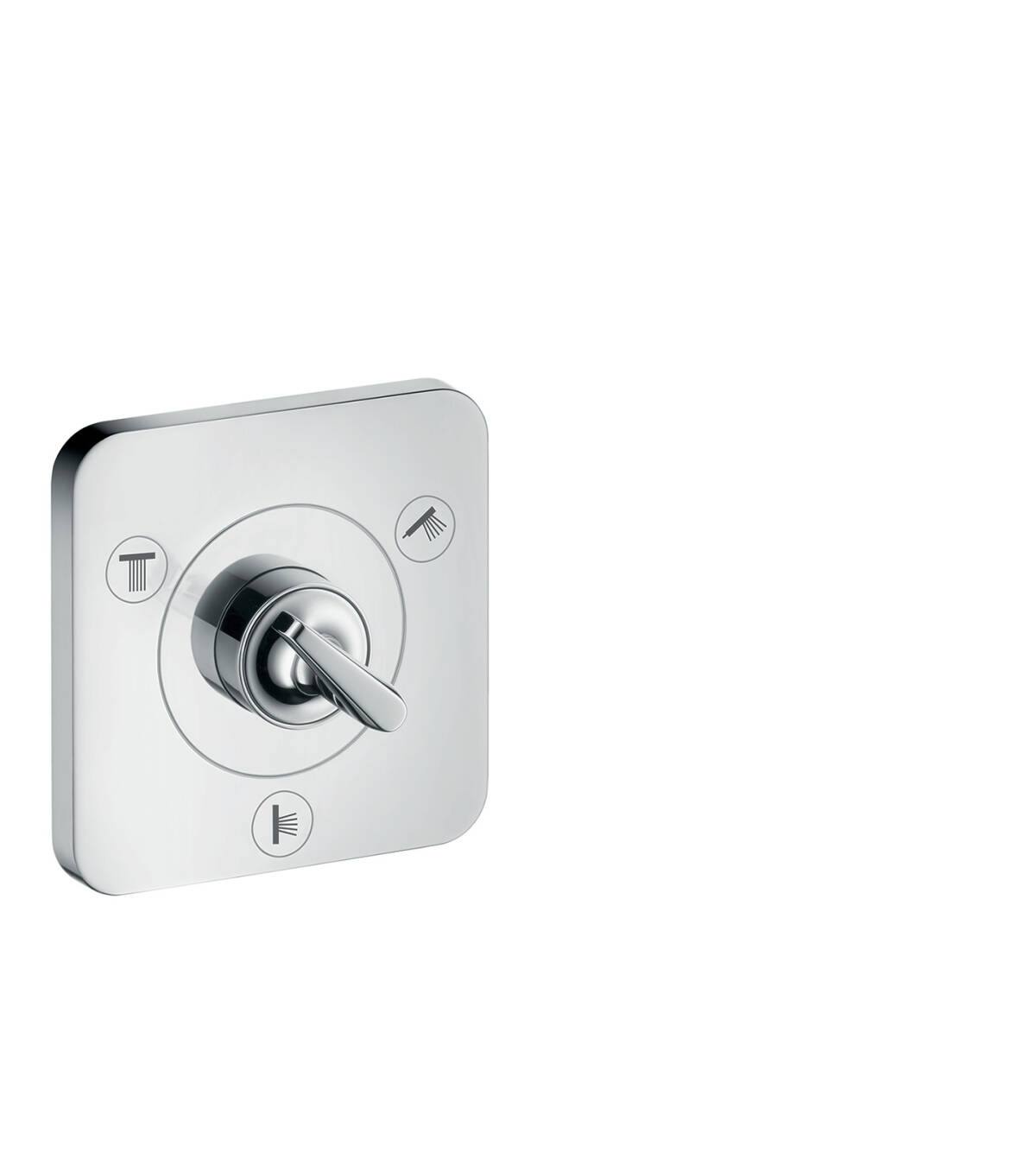 Shut-off/ diverter valve Trio/ Quattro 120/120 for concealed installation, Chrome, 36772000