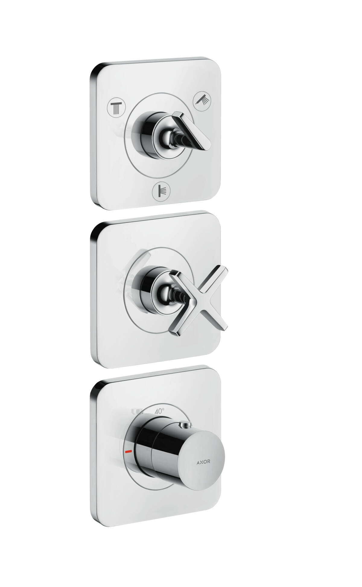 Thermostatic module 380/120 for concealed installation for 3 functions with escutcheons, Chrome, 36704000